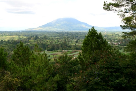 Sinabung mountain viewed from Gundaling hill, Brastagi