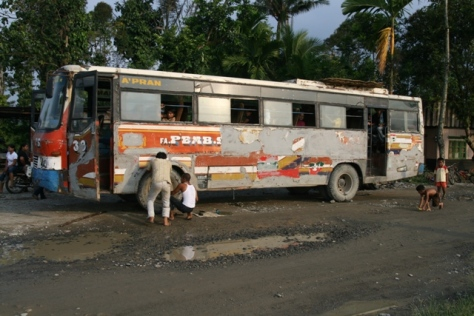 "A Pembangunan Semesta (means universe development) ""Zombie"" Bus, serve Medan-Tangkahan route"