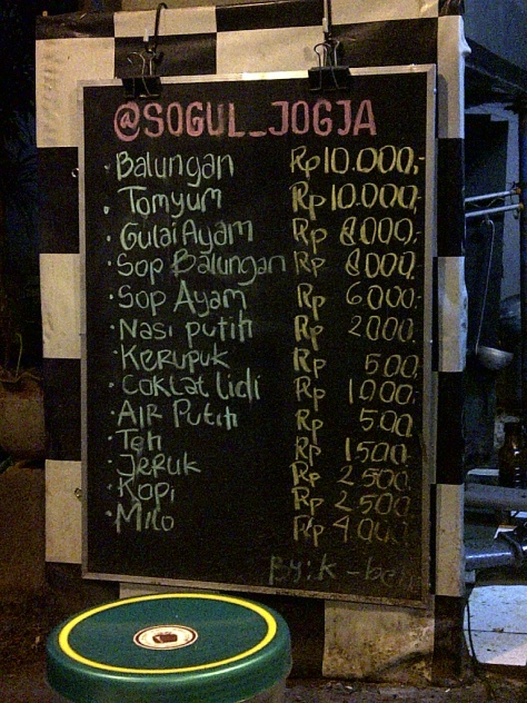 daftar menu SOGUL