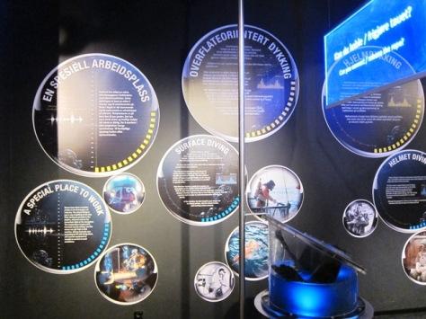 Poster-poster tentang diving dan sarung tangan khusus diving yang terpajang di Norwegian Petroleum Museum