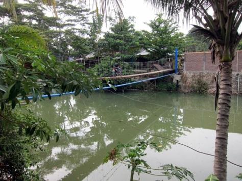 Jembatan Gantung menuju Desa Sawarna, kini motor pun dengan santai melintas di atasnya