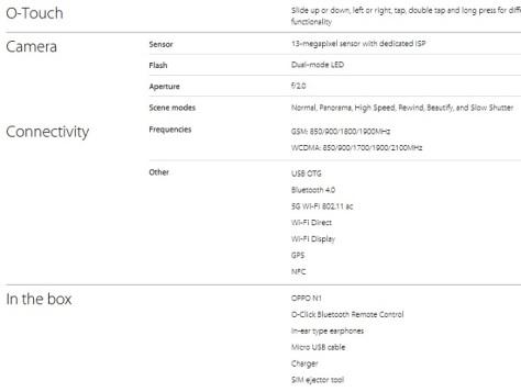 Spesifikasi OPPO N1 (lanjutan)
