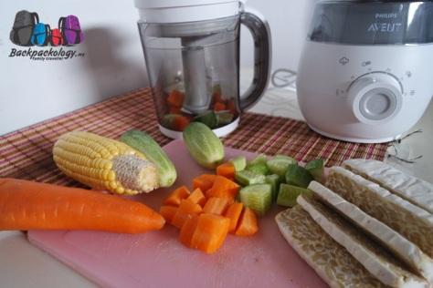 Bahan-bahan mentah sehat untuk makanan bayi